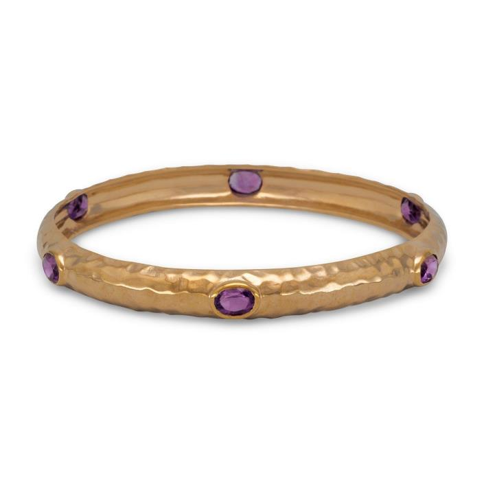 Hammered Bronze Bangle Set with Six Amethysts