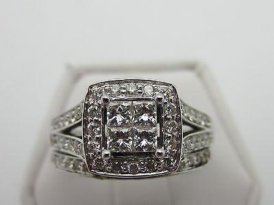 14K white gold princess cut diamond wedding set ring 0.90 cts