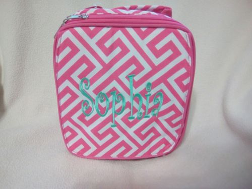 GIRLS PINK  MONOGRAMED LUNCH BAG