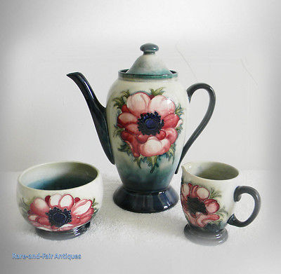 Moorcroft tea set with pot, creamer, sugar - Anemone pattern - FREE SHIPPING