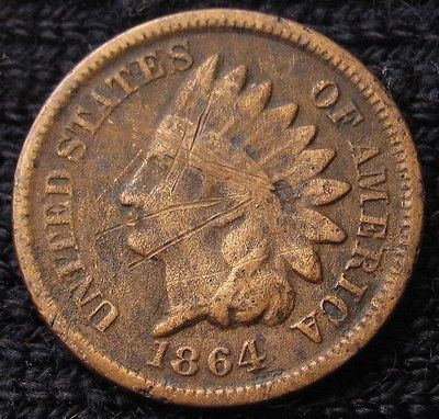 1864  INDIAN HEAD CENT - VF  DETAILS!   #13047