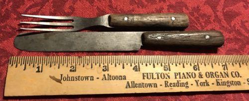 Antique Cutlery Knife Fork Civil War Era Child's Or Haversack Size Re-enactment