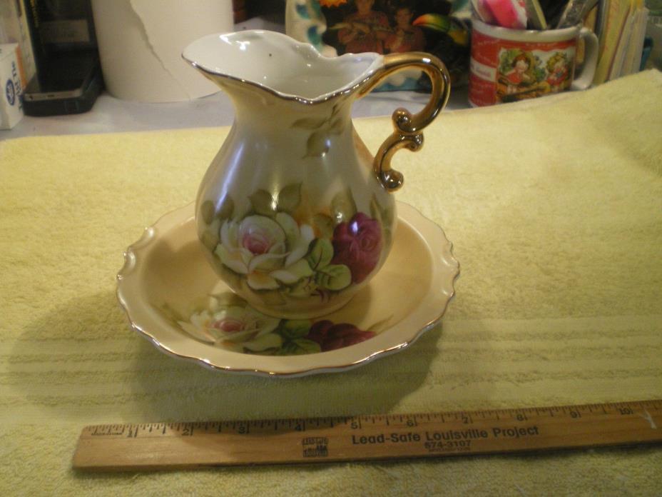 Vintage Lefton China Porcelain Small Pitcher n Bowl Rose Floral Gold Trim FR/SHP