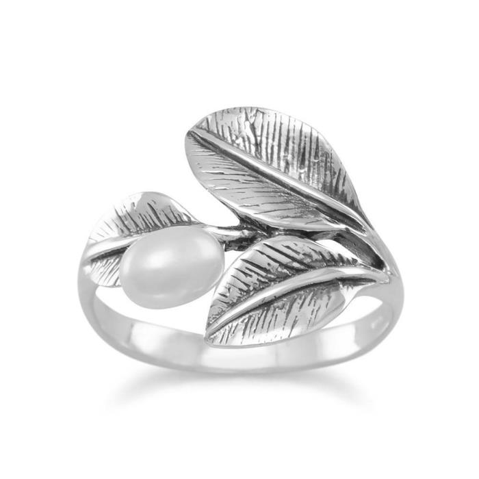 Oxidized Sterling Silver Leaf Ring with Cultured Freshwater Pearl SZs 5-9