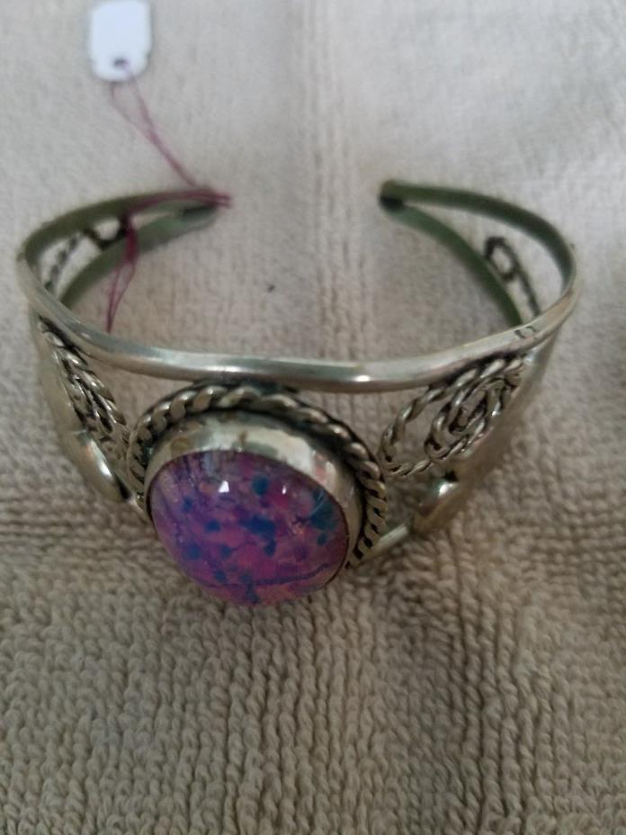 Vintage Hand Made & Marked Sterling Silver Bracelet Unique Stone