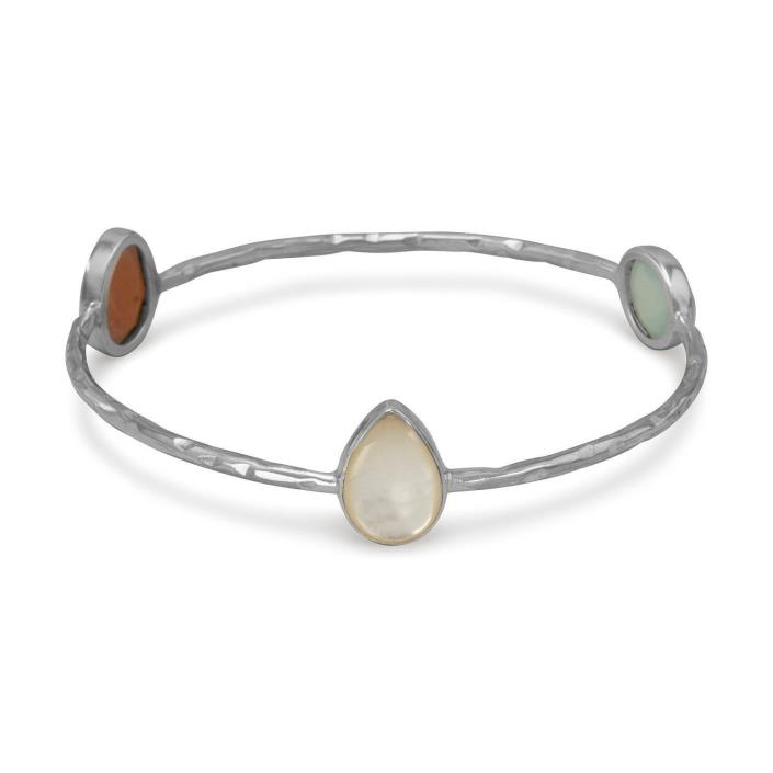 Mother of Pearl, Moonstone & Green Chalcedony Hammered Sterling Bangle Bracelet