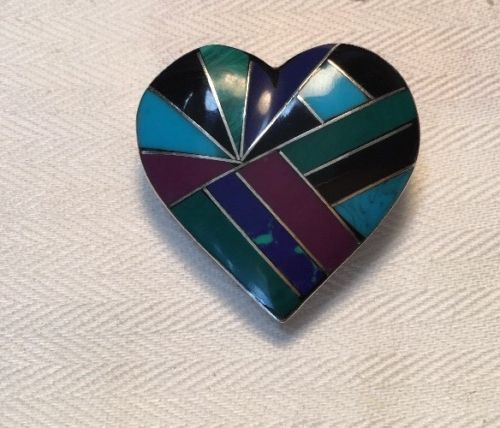 Sterling Silver Vintage Mexico Mosaic Heart Pendant Or Brooch Inlaid Stones