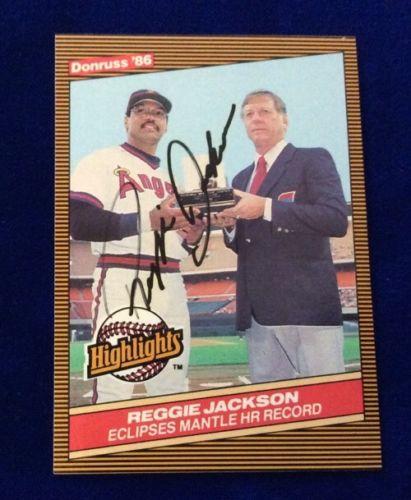 1986 Donruss Reggie Jackson Autographed Baseball Card. Highlights Card #10 NRMT