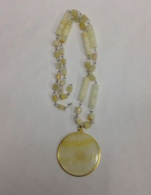 Vintage Alpaca Hecho en Mexico Shell Beaded Statement Necklace Pendant