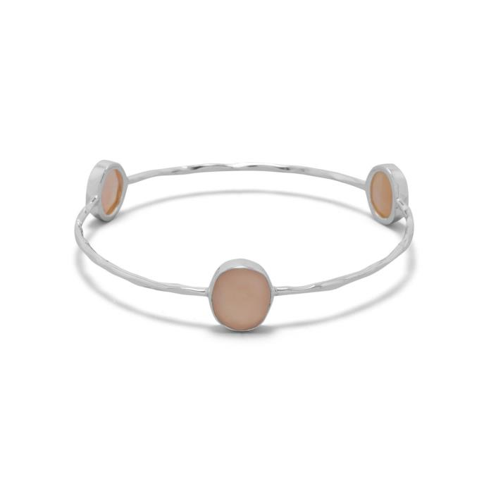 Peach Moonstone Set in Hammered Sterling Silver Bangle Bracelet