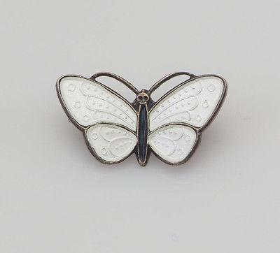 Vintage white enamel sterling silver Aksel Holmsen butterfly pin Norway