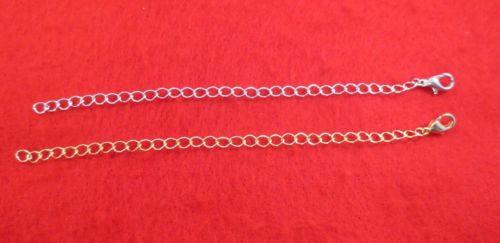 5 INCH 14KT GOLD & WHITE GOLD PLATED 4MM NECKLACE EXTENDER W/ LOBSTER CLAW SET