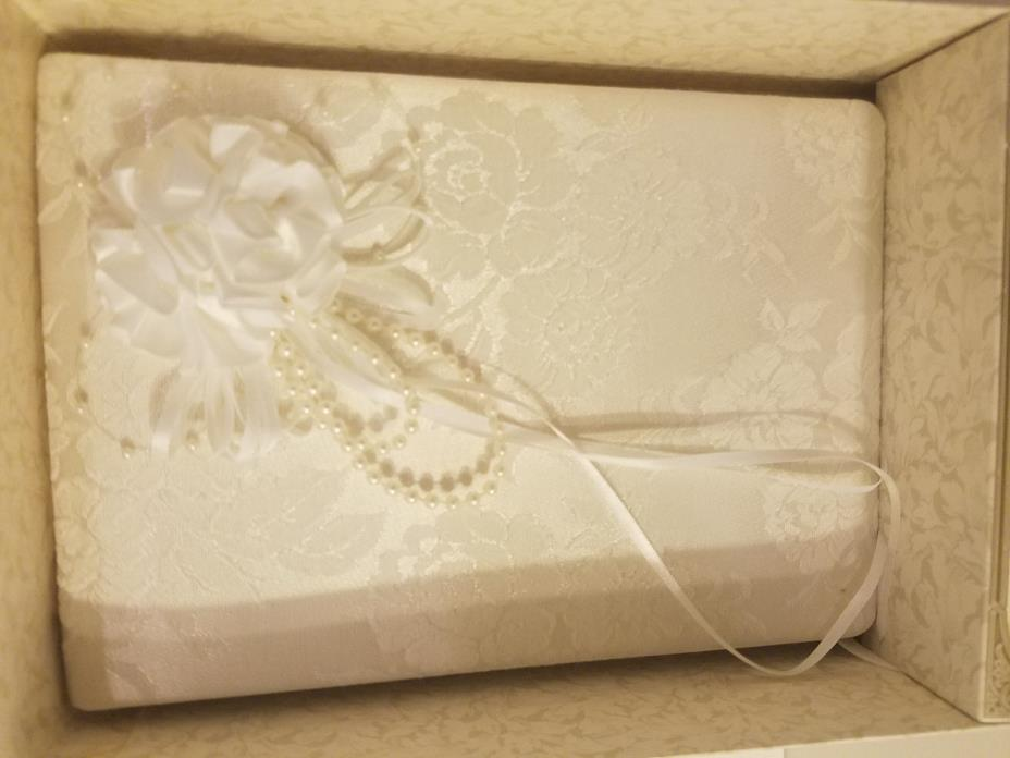 Lillian Rose Satin Wedding Guest Book White with Rose 8.5