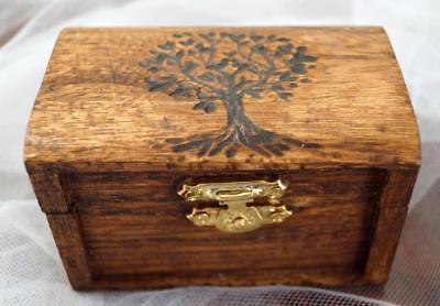 Ring Bearer Box, Hand Burned OLIVE Tree of Life Box, Wedding box, Monogram Date