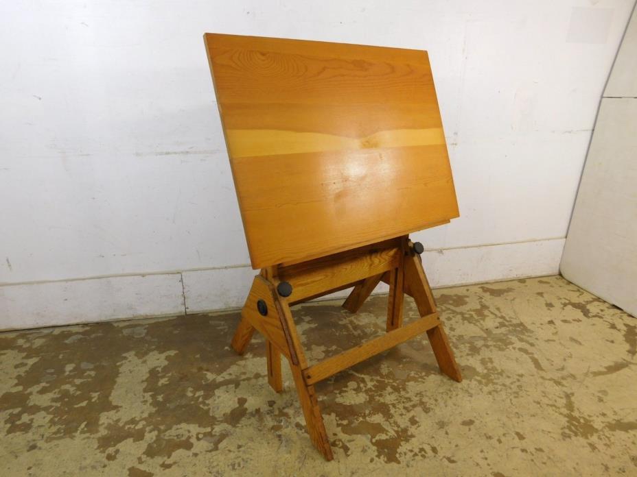 Antique Vintage Fully Adjust Architect Work Drafting Table Solid Oak & Cast Iron