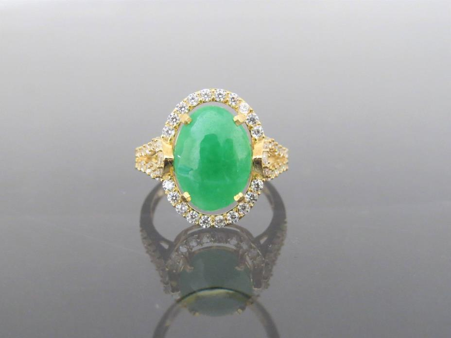 Vintage 18K Solid Yellow Gold Green Jadeite Jade & White Topaz Halo Ring Size 7