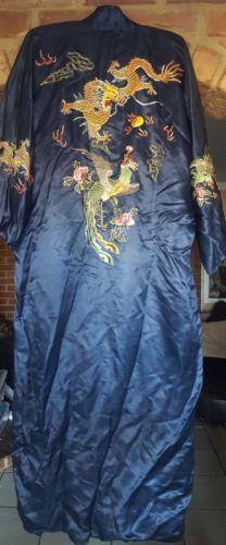 Vintage Midcentury Phoenix Embroidery Navy Silk Robe/kimono Dragon Peacock L