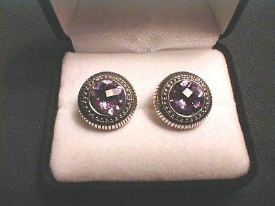 Judith Ripka Sterling Silver AMETHYST Earrings - Pierced Ears