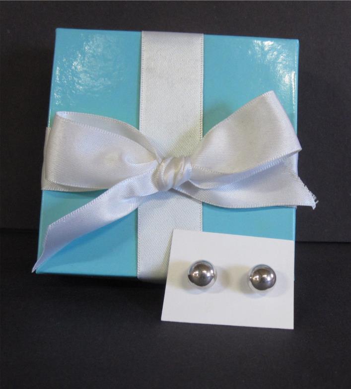 Tiffany & Co 10mm Bead Stud Earrings 925 Sterling Silver Box Pouch