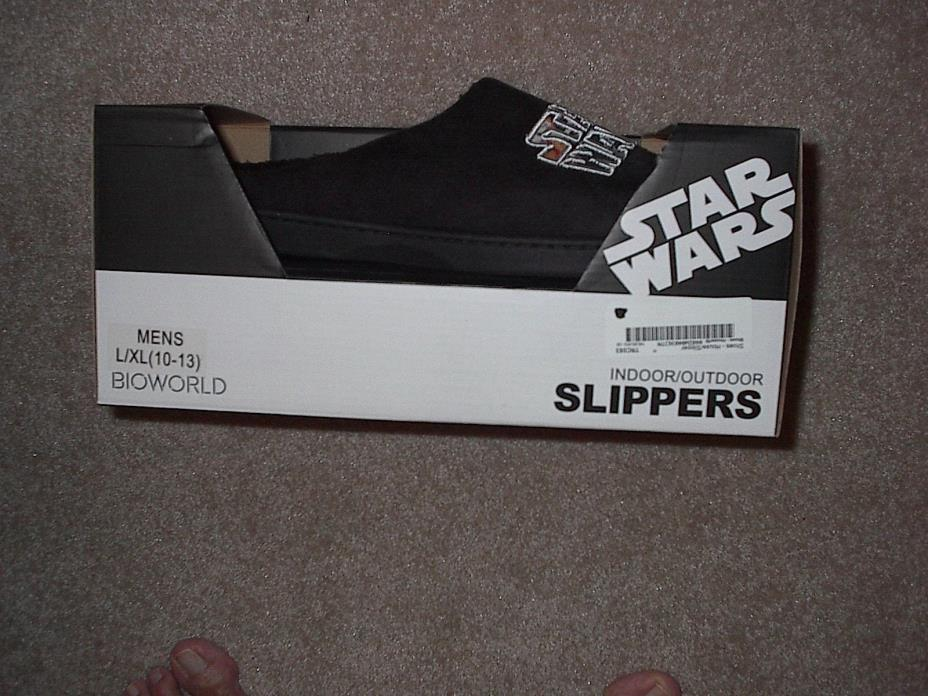 NEW MENS STAR WARS SLIPPERS  L / XL LARGE XLARGE INDOOR OUTDOOR BIOWORLD 10-13