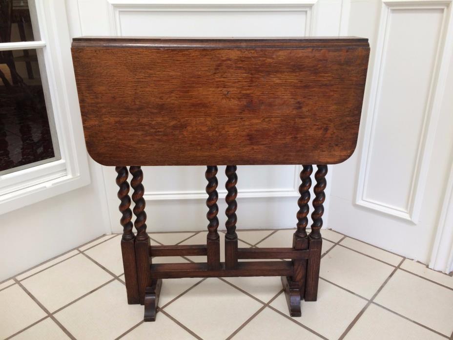 ANTIQUE ENGLISH TIGER OAK DROP LEAF GATE LEG BARLEY TWIST SOFA LAMP END TABLE