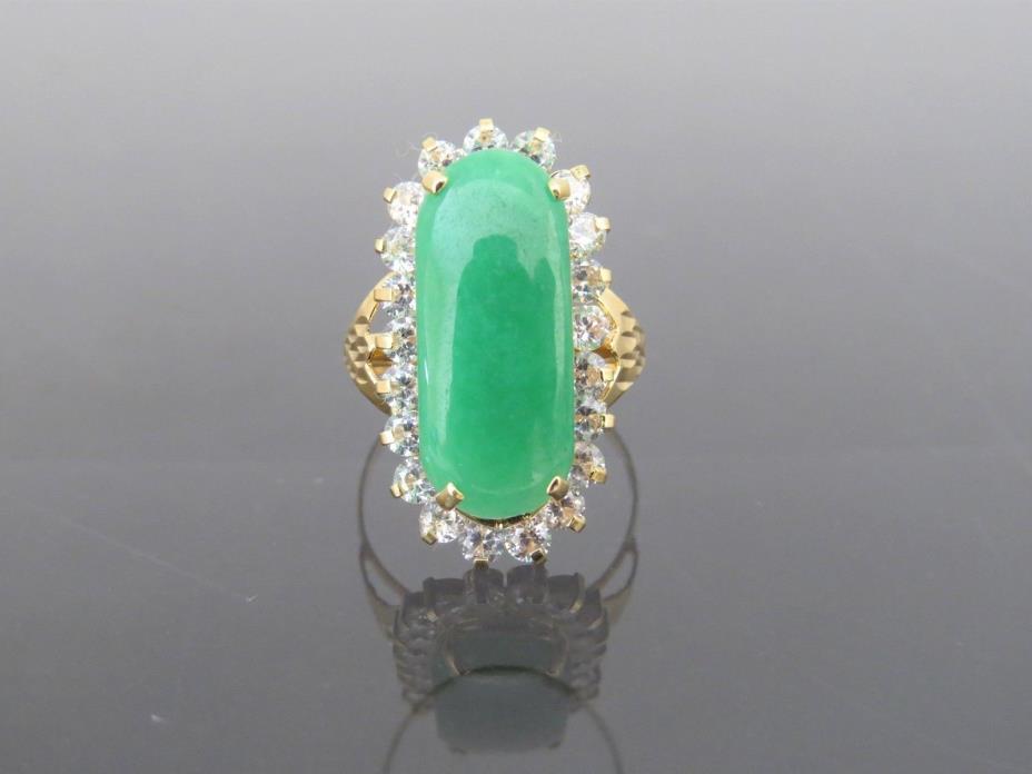 Vintage 18K Solid Gold Green Jadeite Jade & White Topaz Saddle Ring Size 7