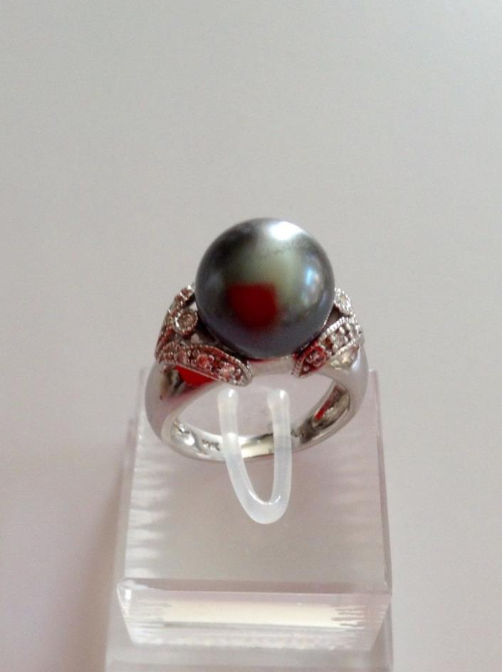 Tahitan Pearl and Diamond Ring in 14K White Gold