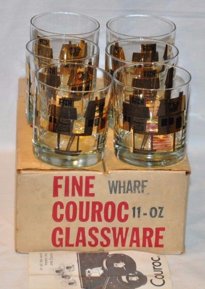 VTG SIX New in Box COURAC Wharf Fishing Glasses Cups Low Ball Tumbler FISH BAIT