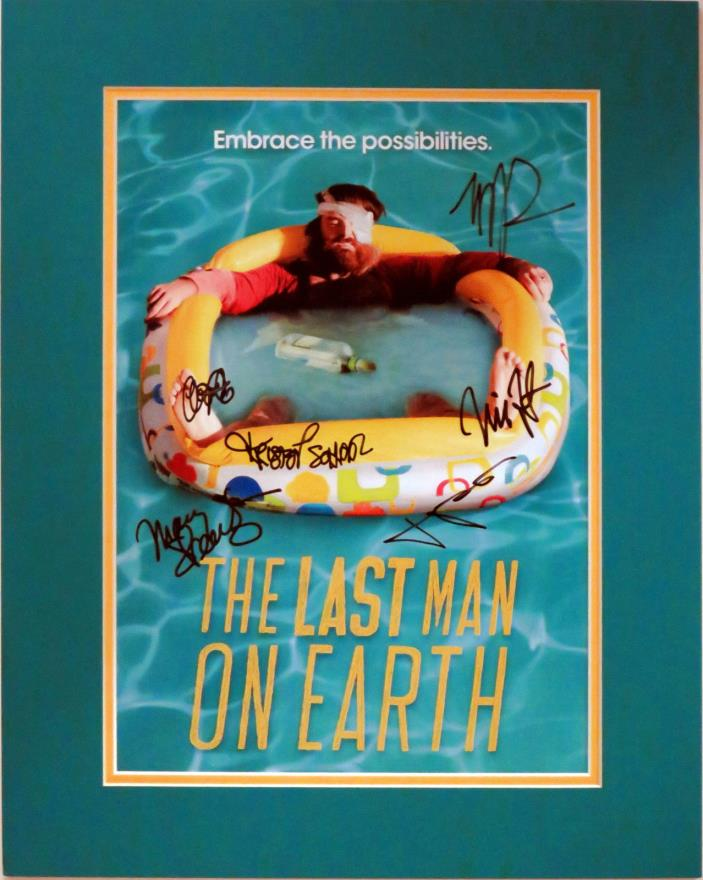 The Last Man on Earth Autographed By 6 SDCC Poster Custom Matted to16x20