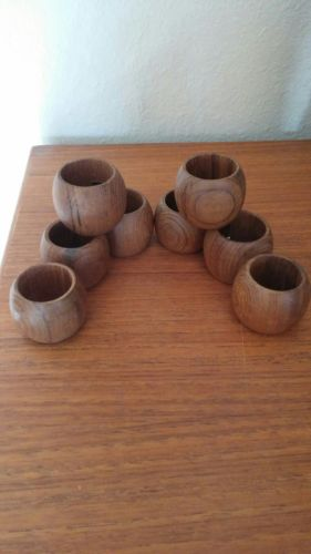 Fabulous Mid Century Modern Barrel Teak Napkin Rings Set Of 8 Perfect Condition