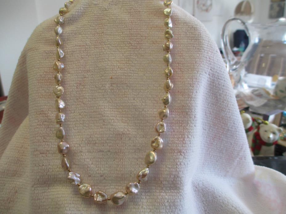 14k Pinkish White Lustre Baroque  Pearl Necklace 18