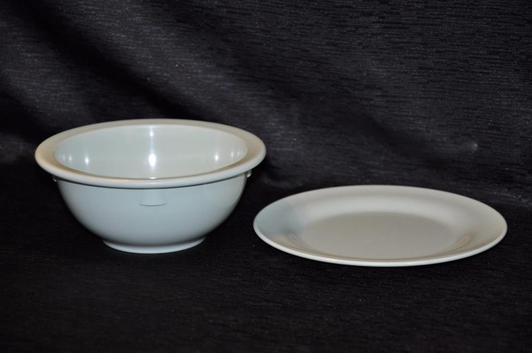 VTG MELMAC Cereal Bowl & Saucer Plate PASTEL GREEN Riveria & Mallow Ware
