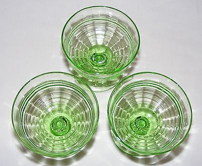 3 VINTAGE VASELINE GREEN DEPRESSION GLASS FOOTED SHERBET DESSERT BOWLS
