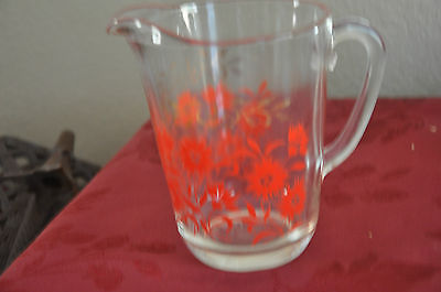 VINTAGE GLASS PITCHER WITH RED FLOWER / GOLD DESIGN