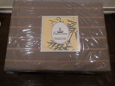 EMPRESS HOME LUXURIOUS TRUFFLE PINSTRIPES SILK & COTTON SHEET SET KING ELEGANT
