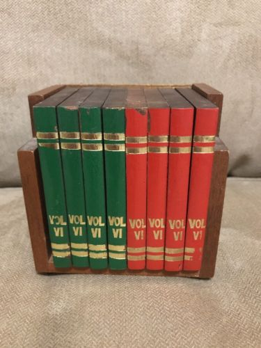 VINTAGE SET OF 8 WOODEN BOOK VOL VI COASTERS WITH HOLDER