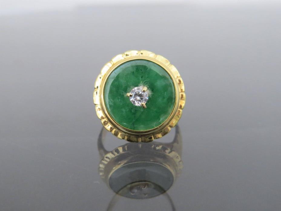 Vintage 18K Solid Gold Natural Green Jadeite Jade & White Topaz  Donut Ring Sz 7
