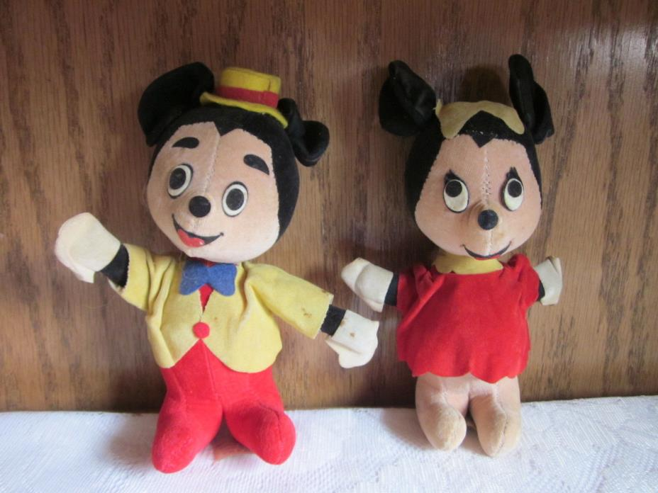 Mickey Mouse Minnie Mouse Disney Productions Stuffed Toy Japan Vintage Rare