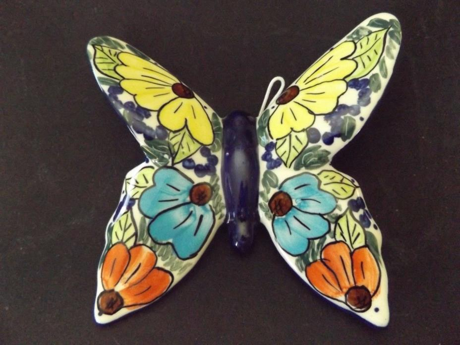 Genuine UNIKAT Polish Pottery Butterfly Ornament Multicolored