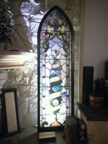 Church Stained Arch Glass Window Over 100 years old Victorian Gothic Leaded