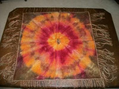 ANTIQUE VICTORIAN TIE DYED VELVET CHIC TABLECLOTH COVER LONG SILK FRINGE SHABBY