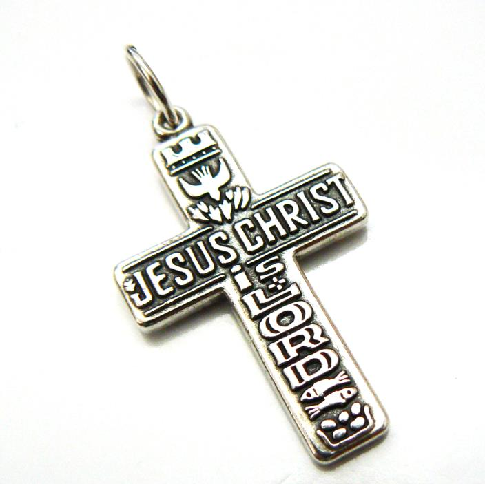 Retired James Avery Jesus Christ Is Lord 2 Fish 5 Loaves Crown Dove Pendant