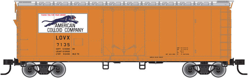 AMERICAN COLOID (PANTHER LOGO) 40'  PLUG DOOR BOXCAR BY ATLAS TRAINMAN-EXCELLENT
