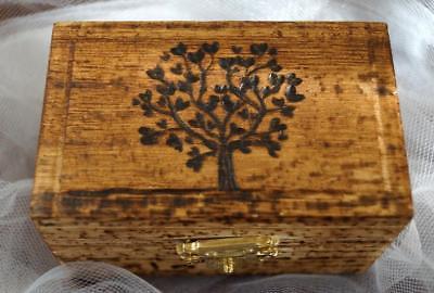 Wedding Box, Ring Bearer Box, Hand Burned Tree of Life Box, Monogram Date Wooden