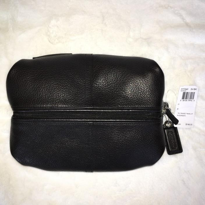 NWT Coach Men's Black Pebbled Framed Travel Kit