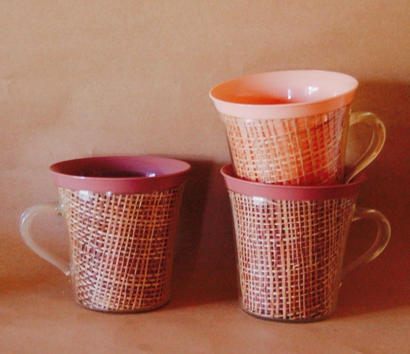 3 Vintage Raffiaware Mugs 1 Peach, 2 Brown