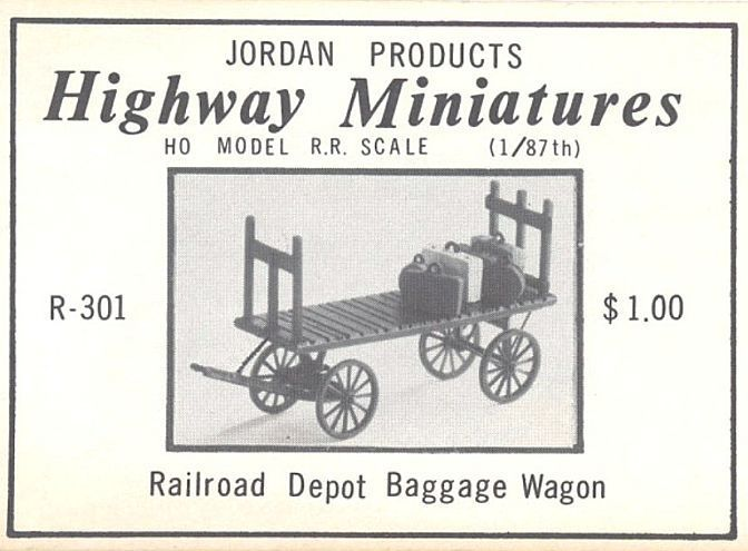JORDAN R-301 HO-SCALE HIGHWAY MINIATURES RAILROAD DEPOT BAGGAGE WAGON * NEW, OB