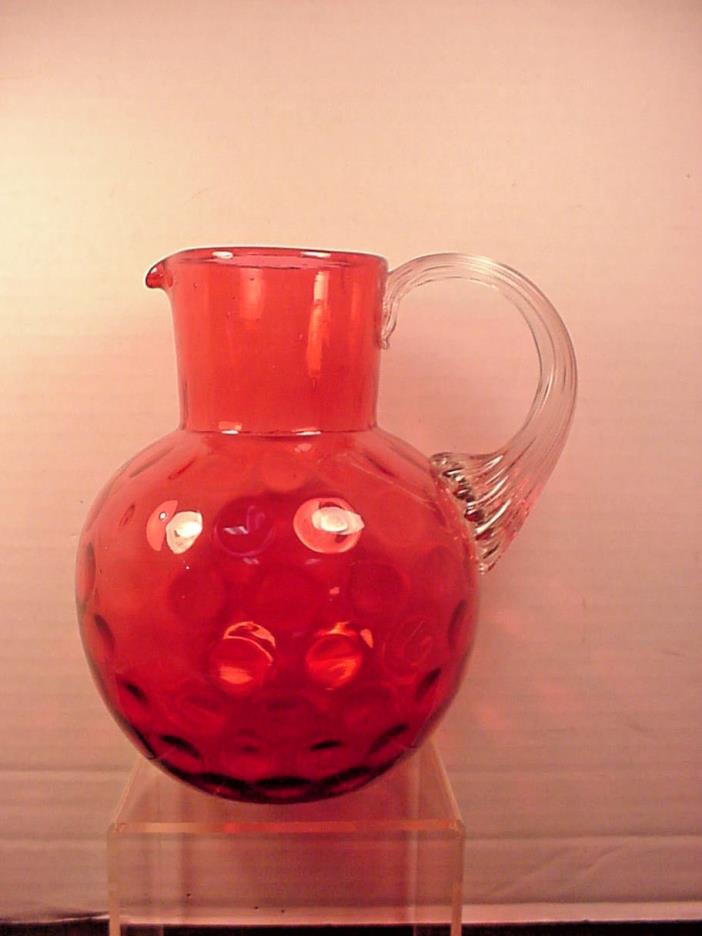 Cranberry Pitcher Water Jug Thumbprint Coin Dot Polished Pontil Hobbs?