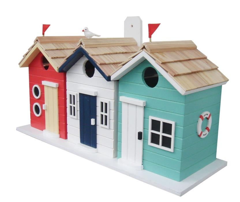 HBD-2000S Home Bazaar Brighton Beach Huts Birdhouse (Single Unit)