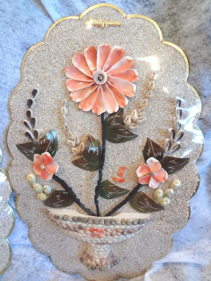 Sea Shell Hanging Wall Art HAND MADE From the Philippines ~ Flowers in a Vase